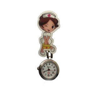 Cute Harajuku Nurse Pocket Watch Stainless Steel Fashion 3D Cartoon Doctor Nurse Pocket Fob Watch Hang Clip Watches A40