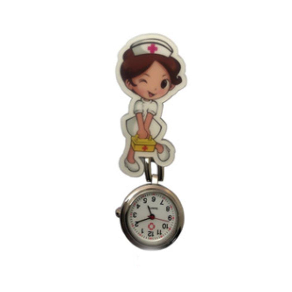 Cute Harajuku Nurse Pocket Watch Stainless Steel Fashion 3D Cartoon Doctor Nurse Pocket Fob Watch Hang Clip Watches A40