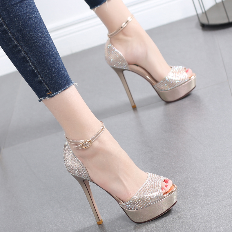 2019 new female wild one buckle high heel fine with summer rhinestones 12CM fish mouth waterproof platform womens shoes..2019 new female wild one buckle high heel fine with summer rhinestones 12CM fish mouth waterproof platform womens shoes..
