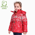 PCORA Kids Girls Winter Jackets Thick Cotton Padded Coat Zipper Closure Detachable Cap&Belt Pink/Red 3T~10T Teens Girls Clothes