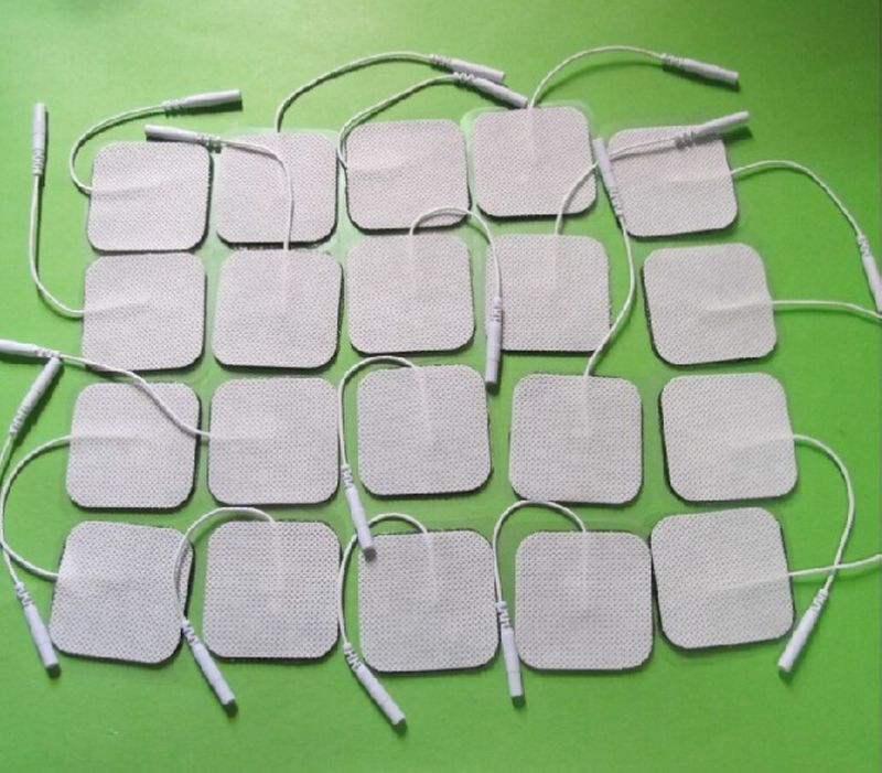 20pcs/lot Replacement Pads Tens Electrodes for Tens Digital Therapy Machine Massager 5x5cm Nerve Stimulator with 2mm Plug 20pcs tens electrodes replacement pads reuseable for body muscle massager fashion
