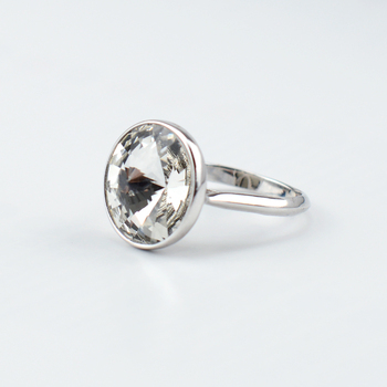 385705b24b9b BAFFIN cristales de Swarovski anillo Simple de moda círculo de dedo de la joyería  para boda compromiso de Color plata Joyas para regalo de las mujeres