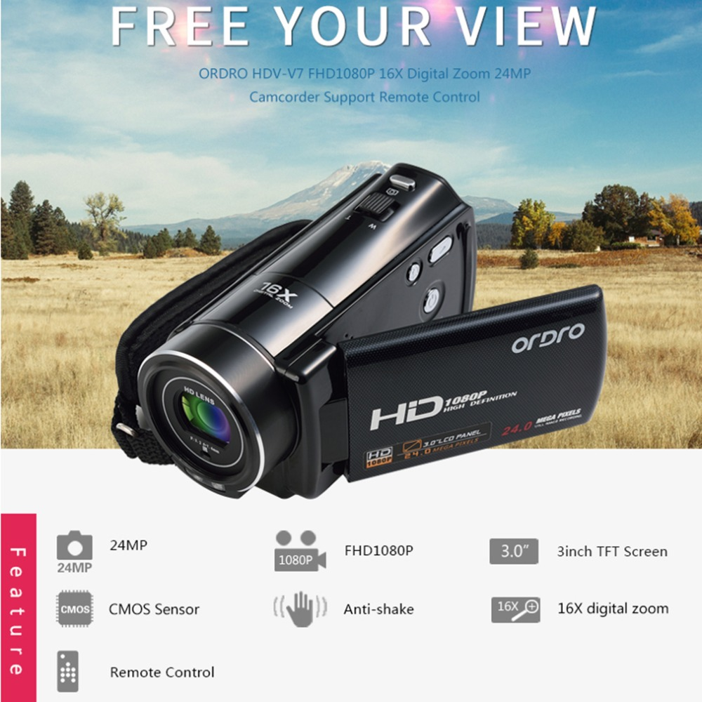 ORDRO 3.0 Inch LCD Screen 1920*1080P Full HD Video Camera Portable Outdoor Indoor Face Capture DV Camcorders HDV-V7 3 0 lcd screen 1920 1080p full hd video digital camera 7 5mm portable outdoor indoor face capture dv camcorders anti shake