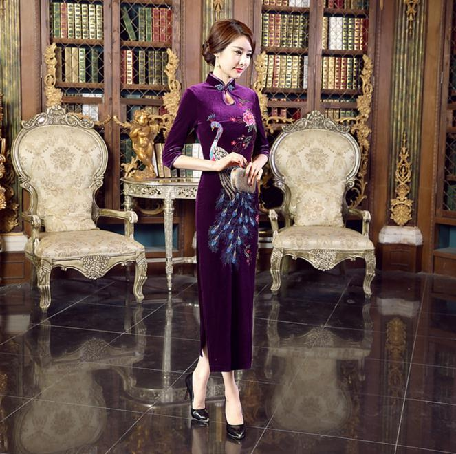 New Arrival Purple Chinese Women Embroidery Velvet Cheongsam Long Slim Qipao Dresses Flower&Peacock S M L XL XXL XXXL T0020-B женские брюки s m l xl xxl xxxl kz9012 women pants