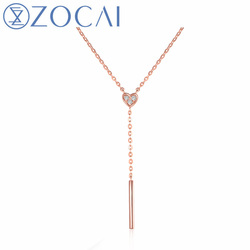 ZOCAI brand real diamond necklace 18K rose gold (AU750) as gift free shipping by DHL D80 ...