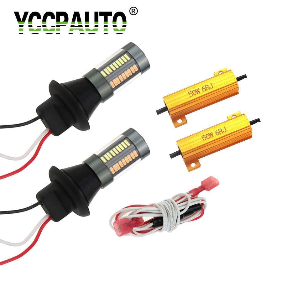 Yccpauto 1156 1157 7440 t20 led dupla cor w21w p21w py21w led canbus lâmpadas nenhum erro para auto turn signal luz drl 4014 66smd