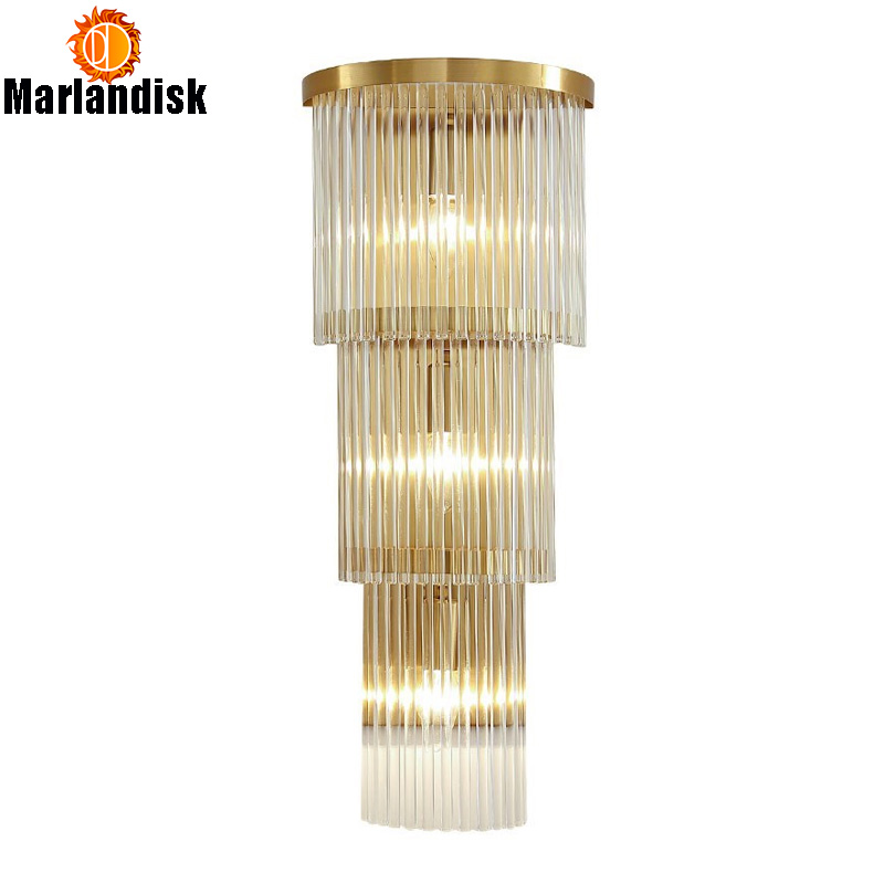 Free With E14 LED Bulbs Post modern Bedside Wall Light With Gold Shelf Clear Glass Bars Graceful Wall Lamp For Bedroom Foyer