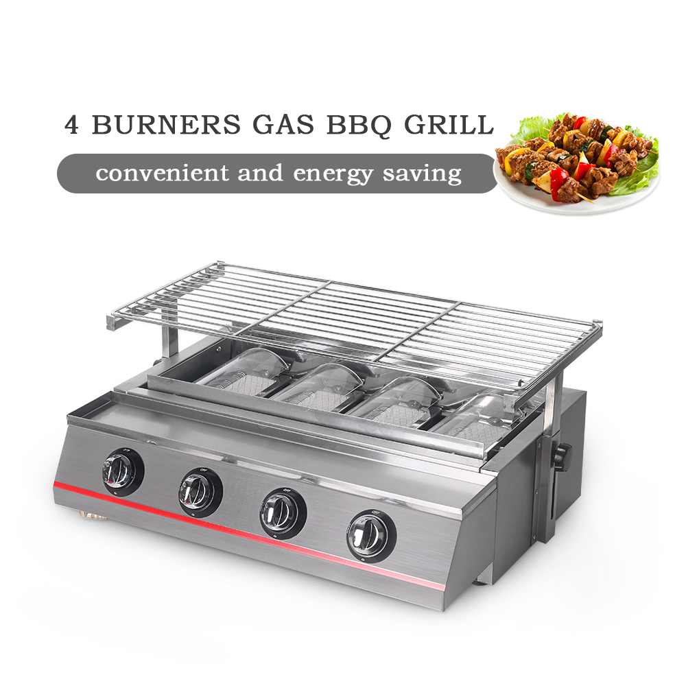 ITOP New 4 Burners LPG Grills Gas BBQ Grills Bakery Camping Picnic Outdoor Barbecue Tools Stainless