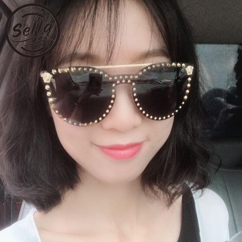 Sella alta calidad Super moda mujer hombres Retro Cateye decoración espejo lente gafas de sol nueva llegada tendencia Punk gafas