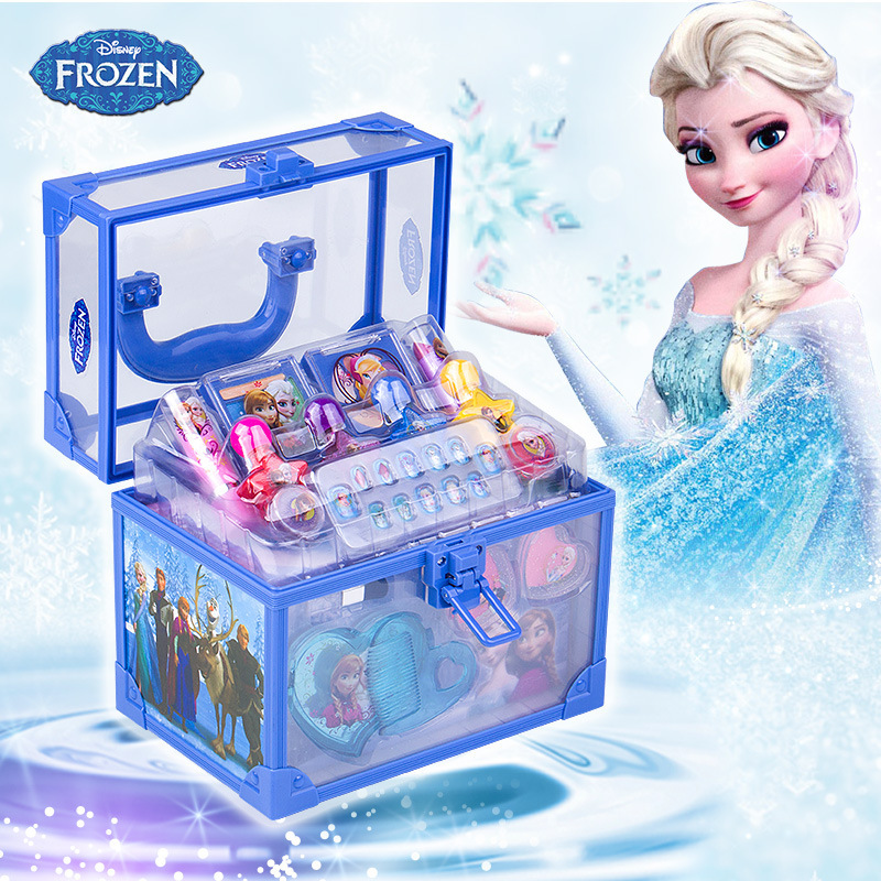 Disney Frozen Beauty Toys Makeup Box Set Girl Princess Elsa Anna Pretend Play Fashion Toys for Children Kids Birthday Gift