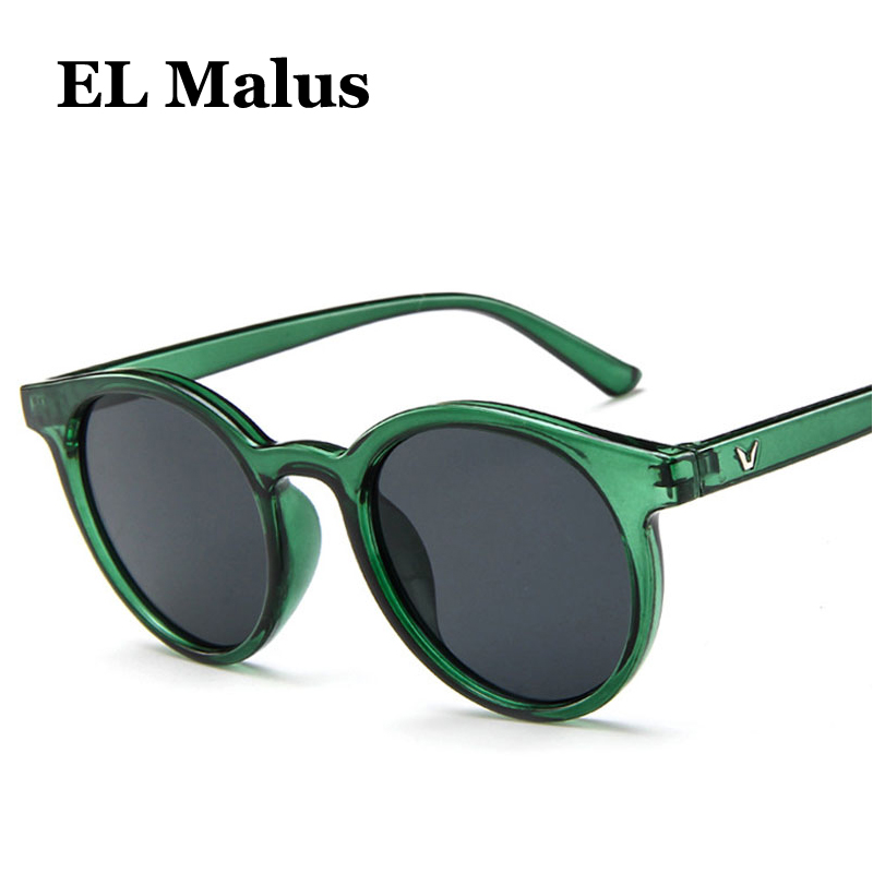 [EL Malus]New Round Frame Sunglasses Women Retro Brand Designer Pink Green Yellow Sun Glasses Female Fashion Outdoor Driving