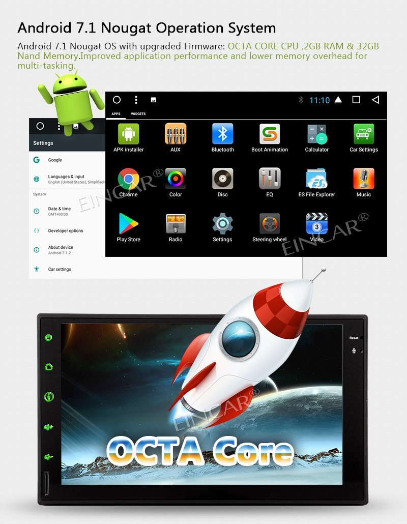 Octa Core Android 7.1 OS Auto autoradio stéréo Double Din unité de tête 7 ''GPS Navigation Bluetooth commande au volant WIFI + 4G - 2