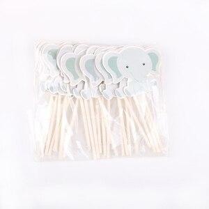 Image 5 - 24 pz/lotto Carino piccolo elefante Tema Del Partito Del Bigné Toppers Per La Famiglia del bambino doccia Festa di Compleanno Decorazione Forniture