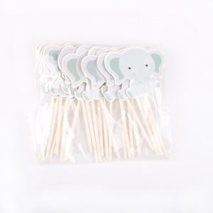Image 5 - 24 ピース/ロットかわいい象のテーマパーティーのためのカップケーキトッパー家族ベビーシャワーの誕生日パーティーの装飾用品