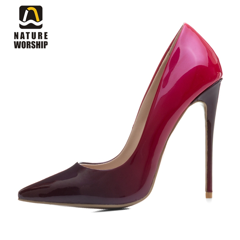 Fashion gradient color women pumps shoes pointed toe high heels single shoes spring summer patent leather wedding party shoes 2017 free shipping siketu spring and autumn women shoes fashion high heels shoes wedding shoes pumps g174 summer sandals