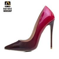 Moda kolor gradientu kobiety czółenka buty pointed toe wysokie obcasy pojedyncze buty wiosna lato patentu skórzane buty wesele