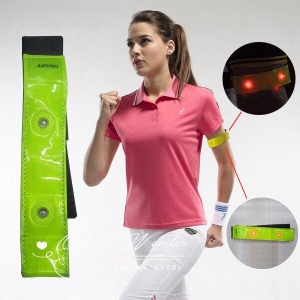 Free shipping 2 pcs/lot,reflective Safety Band Pants Velcro Band Leg belt,4 LED flash Bicycle Reflective arm Leg Strap