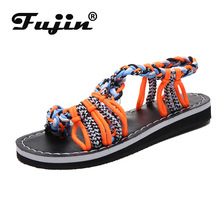 Fujin Summer Fashion Knot Women Sandals Dropshipping Beach Open Toe Flat Multiple Colour Large Size 35-44 Herringbone