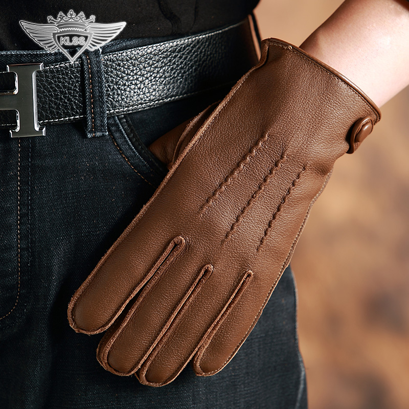 KLSS marque en cuir véritable hommes gants de haute qualité en peau de daim gants d'hiver Plus velours décontracté conduite gant mâle W67