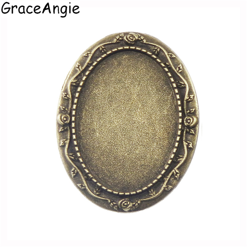 GraceAngie 10pcs Retro Style Bronze Tone Color Oval Shape Glass Cabochon Brooch Base Custermized Jewerly Making DIY Women Gift