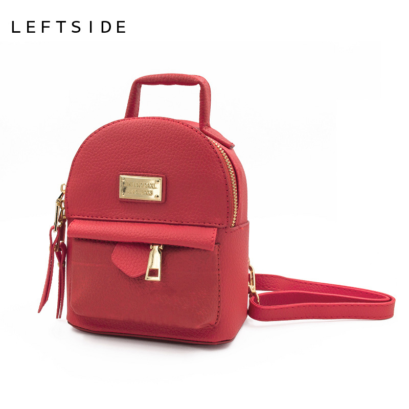 LEFTSIDE 2017 Mini Backpacks For Teenage Girls Back Bag Women PU Leather Small shoulder Bag Feminine