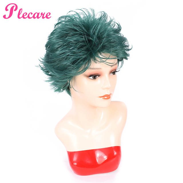 Plecare Short  Straight Wig Ombre Green  Heat Resistant Hair Synthetic Wig For Black/White Women Anime Cosplay/Party Wigs