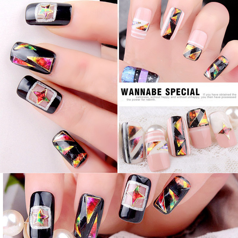 Irregularly Broken Glass Nail Art Sticker Decals Colorful Sky Aurora