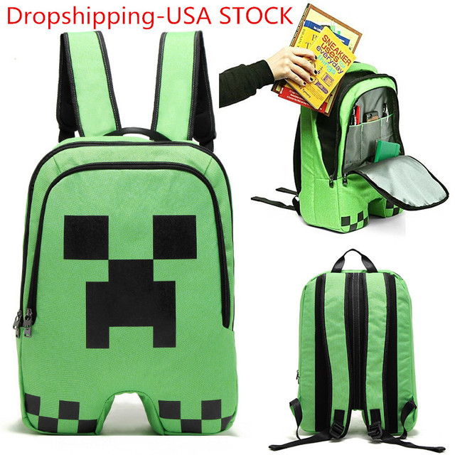 Minecraft School Backpack Creeper Rucksack Waterproof Boy Sports Storage Bag 2b42e4f17870a