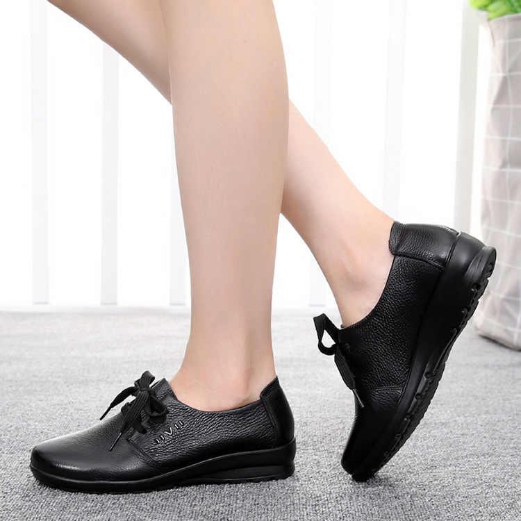 DONGNANFENG Kadınlar Eski anne ayakkabısı Daireler Inek Hakiki deri makosenler PU Dantel Up Yuvarlak Ayak Kaymaz Yumuşak Katı 35-41 JN-5257
