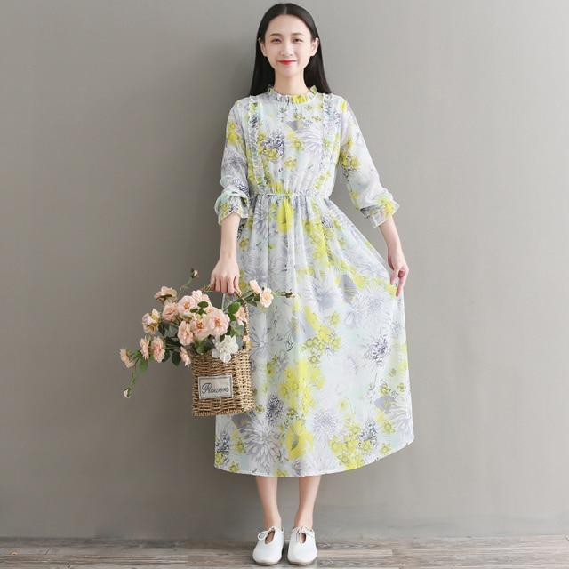 1320a5fe33a Work Largos Chiffon Yellow Long Sleeve Off White Rockabilly Office Floral  Cortos Kaftan Jurken Beyaz Denim