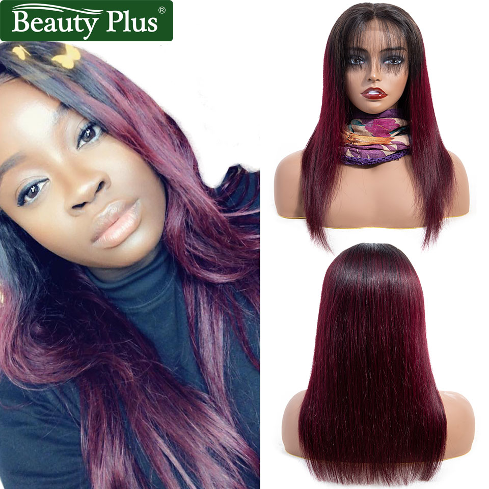 99J Lace Front Human Hair Wigs Beauty Plus Remy Blonde 30 Ombre Brazilian Straight Hair Pre Plucked 4x4 Burgundy Lace Front Wigs(China)