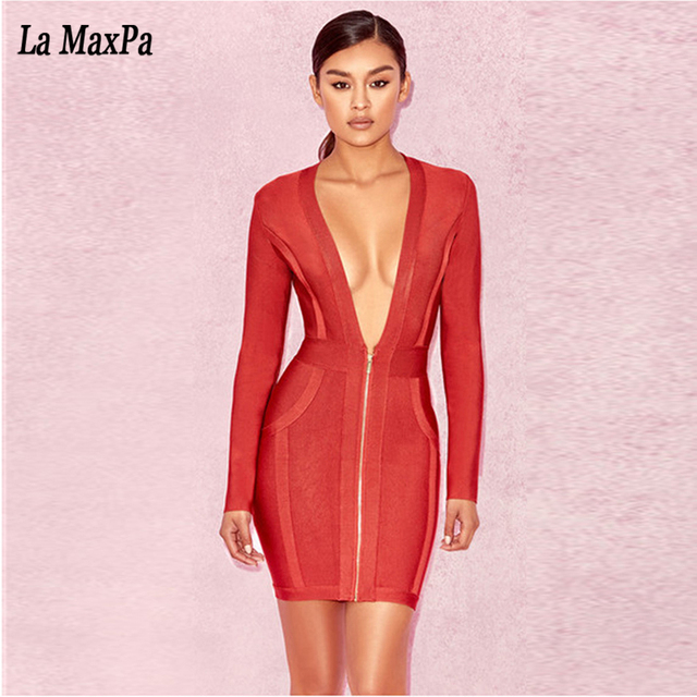 fd65674806 2017 New Women Long Sleeve red Bandage Dress Vestidos Front Zipper V Neck  Nightclub Evening Celebrity Party Dresses wholesale