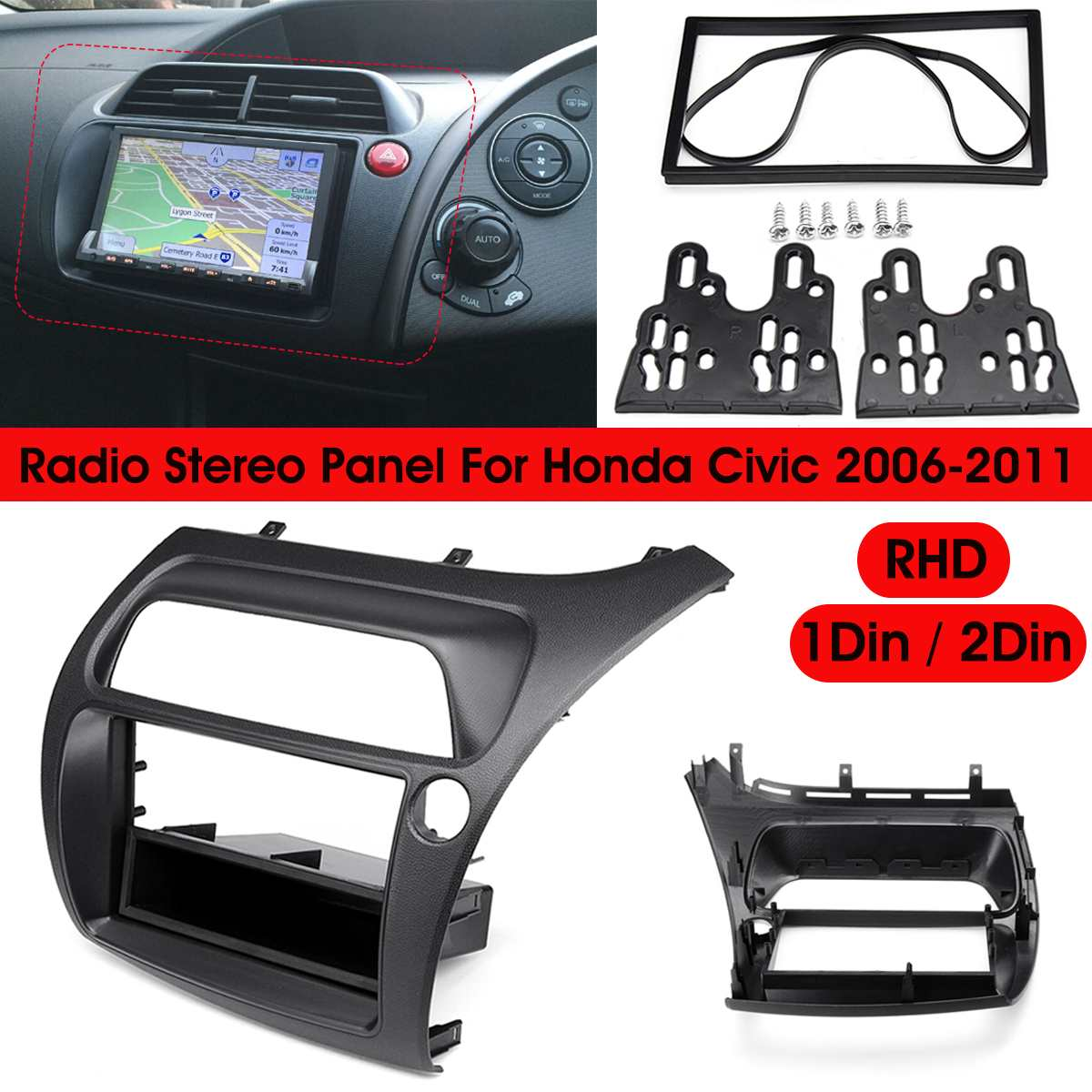 Car Radio Stereo Double Din Install Dash Kit Panel for 2007-2011 Nissan Altima