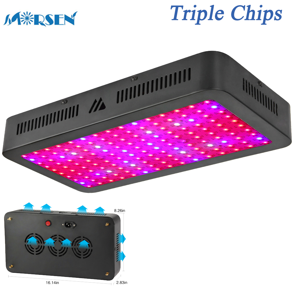 1000W 1500W LED Grow Light, Triple Chips Full Spectrum Plant Lamp for Indoor Plants Veg Flower All Phases of Growth (10W Leds)25 85 265v 14w 225 led lamp plant grow light panel hydroponic lamp 165 red 60 blue ip65 for indoor flower vegetable plants growth