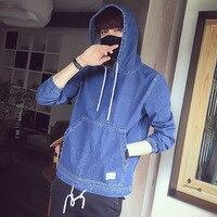 Denim Hoodie Men 2017 Winter Jeans Pullover Men Hip Hop Tide Brand Blue Hoody Sweatshirts Mens
