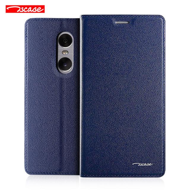 Qualidade superior genuíno couro de luxo suporte magnético flip smart cover case para xiaomi redmi note 4 wake up sono coldre