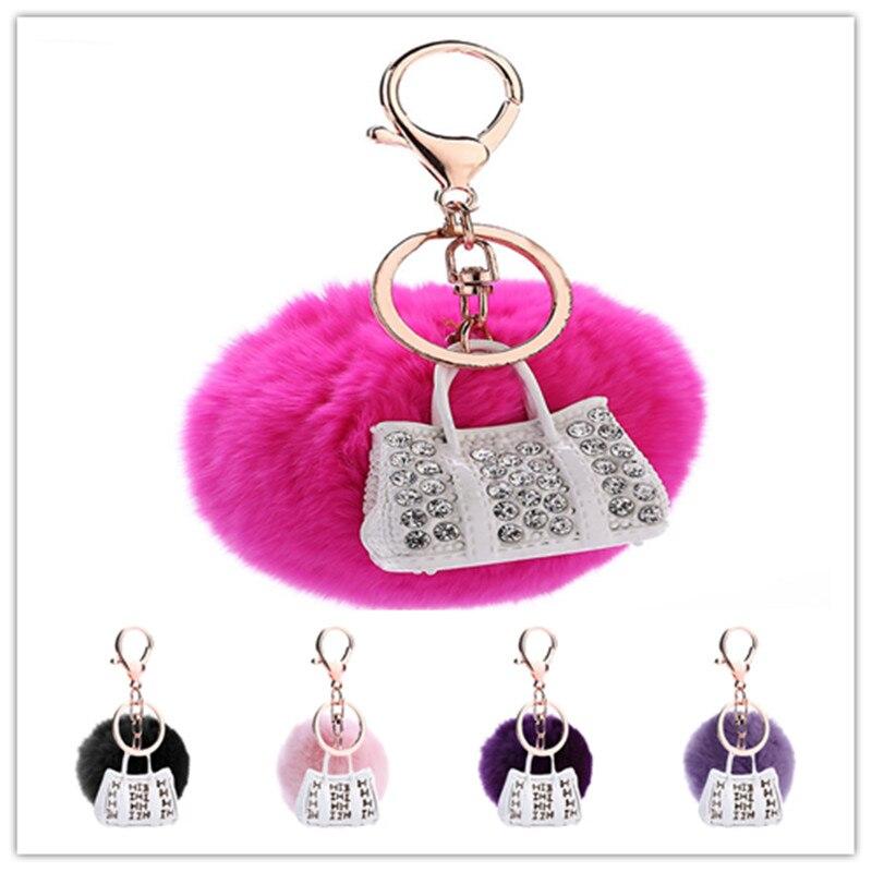 White Women Rhinestone Handbag Pendant Keyrings 8CM Round Fur Ball Decorated Fashion key Chains Car Key Holder 3PCS/Lot