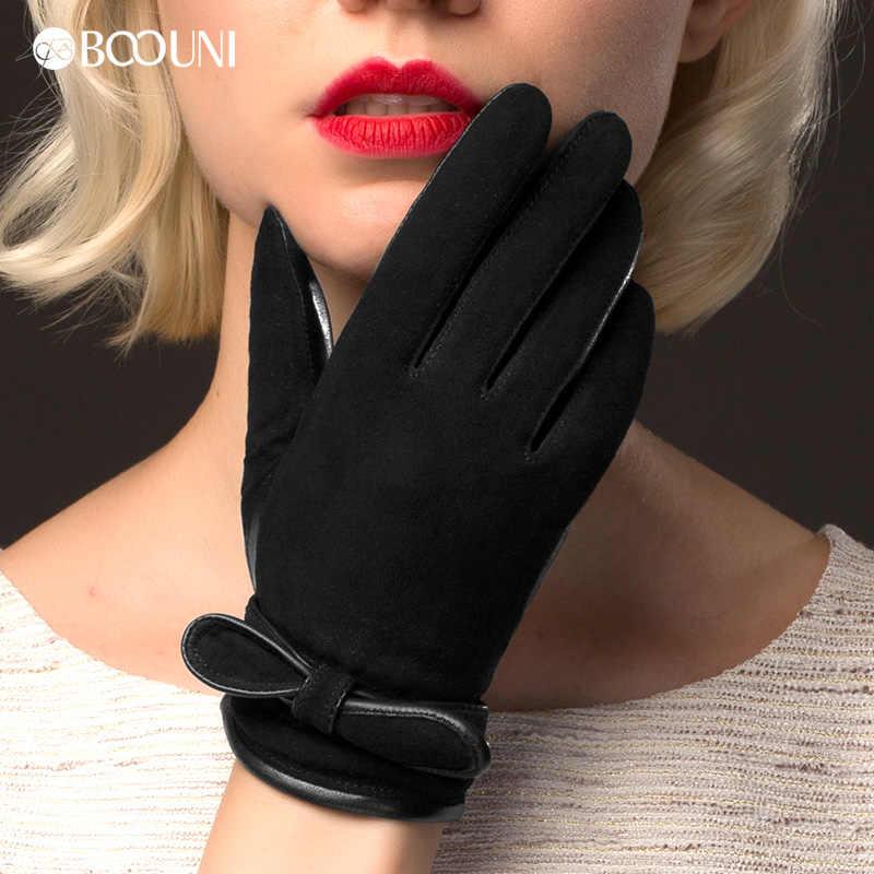 BOOUNI 本革手袋女性のファッションヨブラックスエードシープスキングローブ秋冬プラスベルベット暖かいドライビンググローブ NW511
