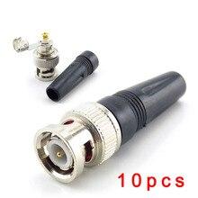 Connecteur BNC mâle, 10 pièces, adaptateur à prise mâle, câble Coaxial RG59 Twist on, connecteur vidéo/AUDIO pour caméra CCTV