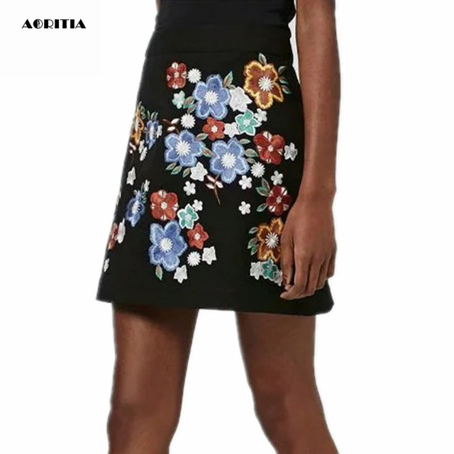 ce7cb535597 US $15.58 24% OFF|2016 Women European Style Heavy Embroidery Skirts Fashion  A Line Skirts Saias-in Skirts from Women's Clothing on Aliexpress.com | ...