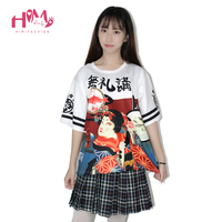 Summer New Harajuku Style Student Japanese Writing Letters Printed Short Sleeved T Shirt Women Black White