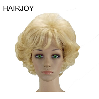 цена на HAIRJOY Women Synthetic Hair Wigs Short Curly Blonde Brown Black Gray Wig Heat Resistant Free Shipping