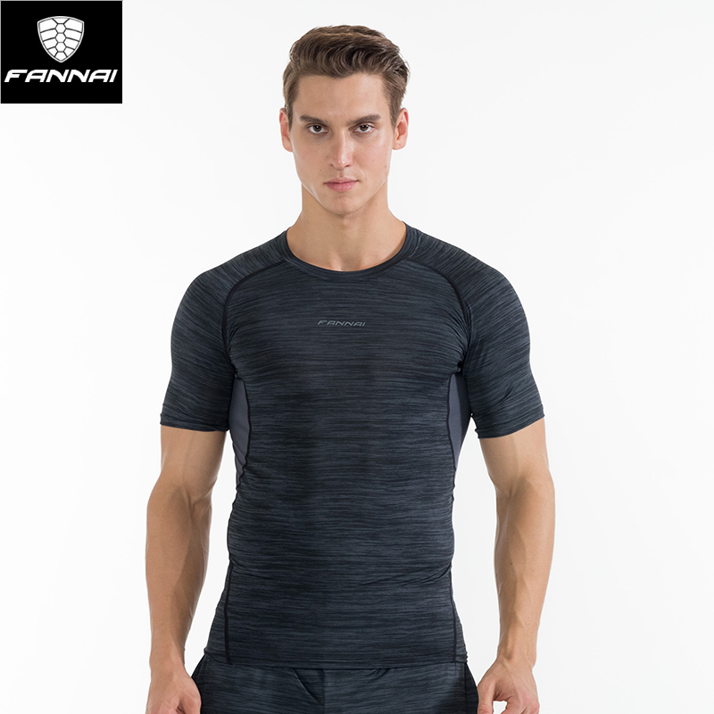 FANNAI Short Sleeve Men Trainning T-shirts Breathable Good Elasticity Quick Dry Flexible 150-220g Round Neck Exercise T-shirts