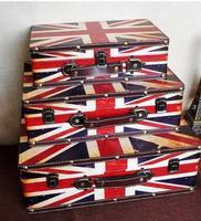 Три комплекта британский стиль старинный кожаный чемодан несет деревянный подражать древний деревянный ящик для photograp украшения дома стат