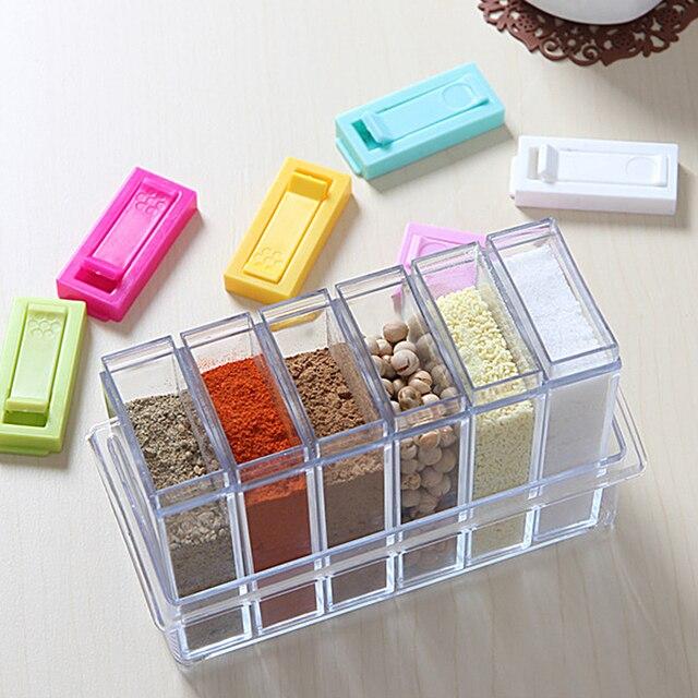 2pcs/set Plastic Spice Bottles Jars Seasoning Organizer Box Condiment Layers Kitchen Storage Boxes Home Organization Accessories