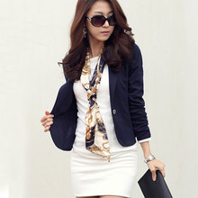 Short Solid Turn-down Collar Slim Blazers Women Fashion Long