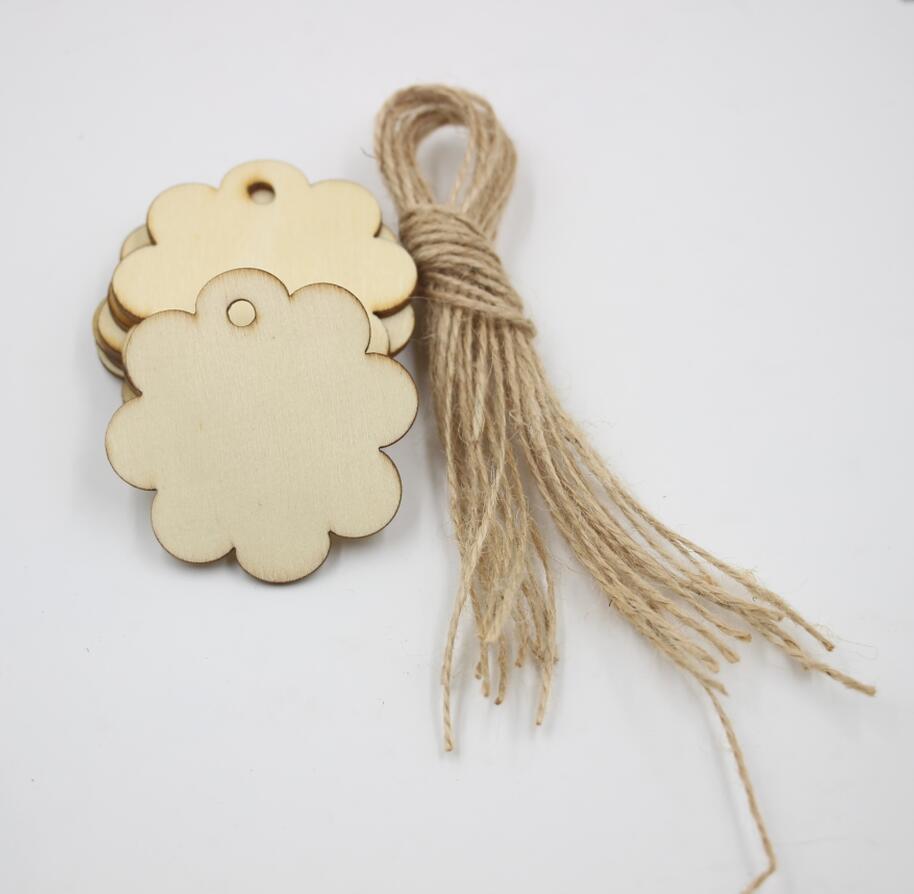 Wooden circles for crafts -  24pcs Lot Scalloped Circle Shape Natural Wood Tags Birthday Gift Hanging Drop Label Craft