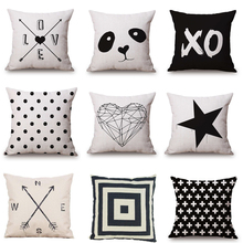 CUSCOV 2018 Cushion cover Black and White Pattern Pillowcase Cotton Linen Printed 18x18 Inches Geometry Euro Pillow Covers