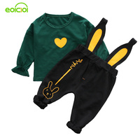 EOICIOI Baby Girls Clothing Sets 2pcs Casual Suits Kids Love Heart Solid Coats Rabbit Ear Suspender