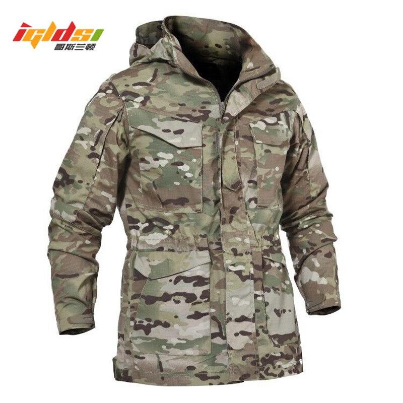 Для мужчин тактическая куртка Новый 2018 Демисезонный армии США M65 Военная Полевая куртка Тренч пальто с капюшоном Casaco Masculino ветровка